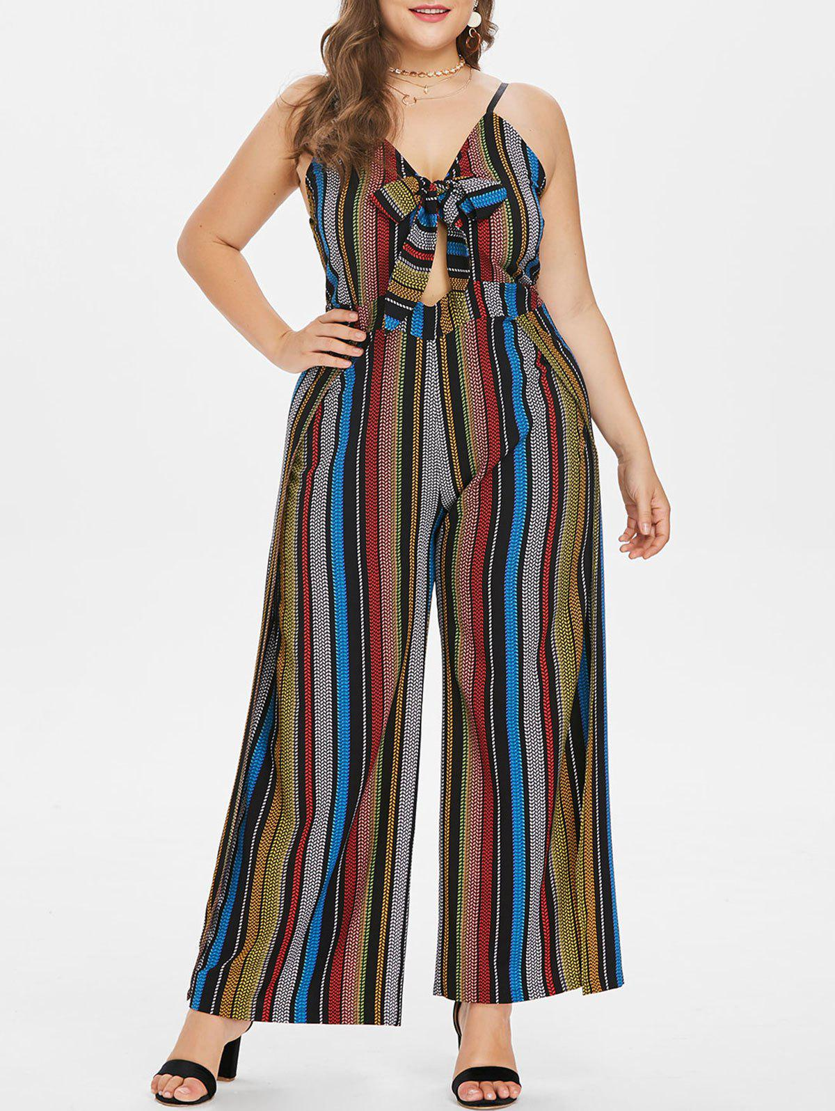 Fashion Plus Size Striped Front Knotted Jumpsuit