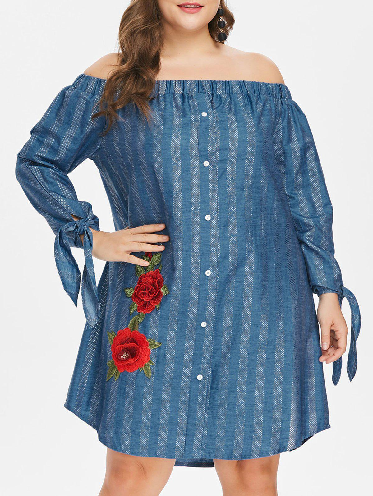 Cheap Off The Shoulder Plus Size Floral Embroidery Dress