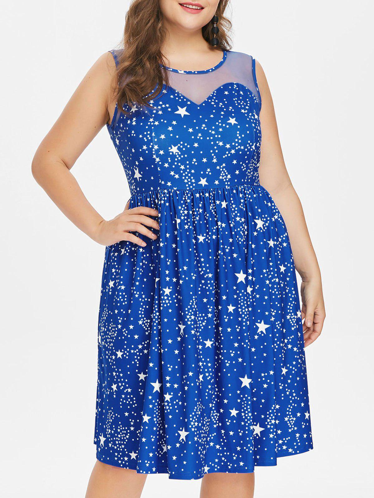 Fancy Plus Size Star Print Mesh Yoke Dress