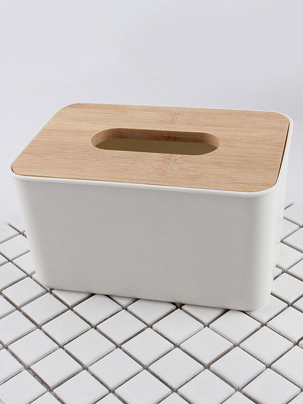 Chic Rectangle Facial Tissue Box with Wooden Lid