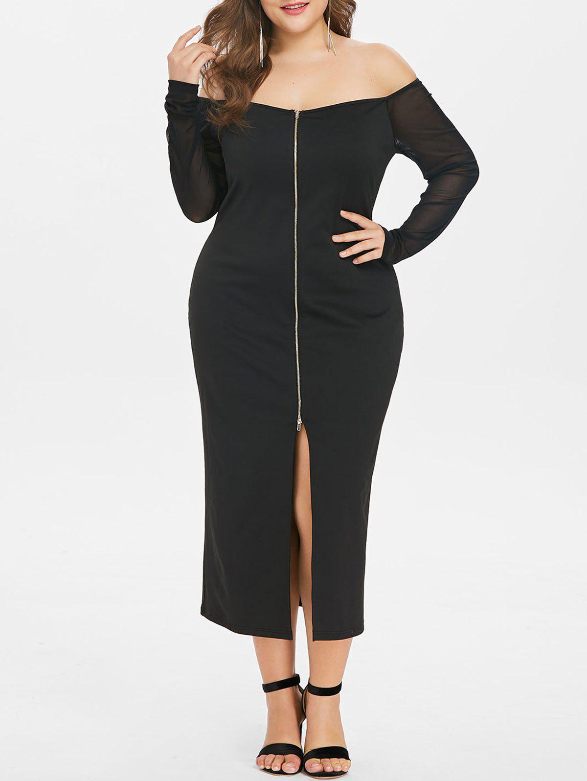 Discount Plus Size Zip Up Mesh Sleeve Dress