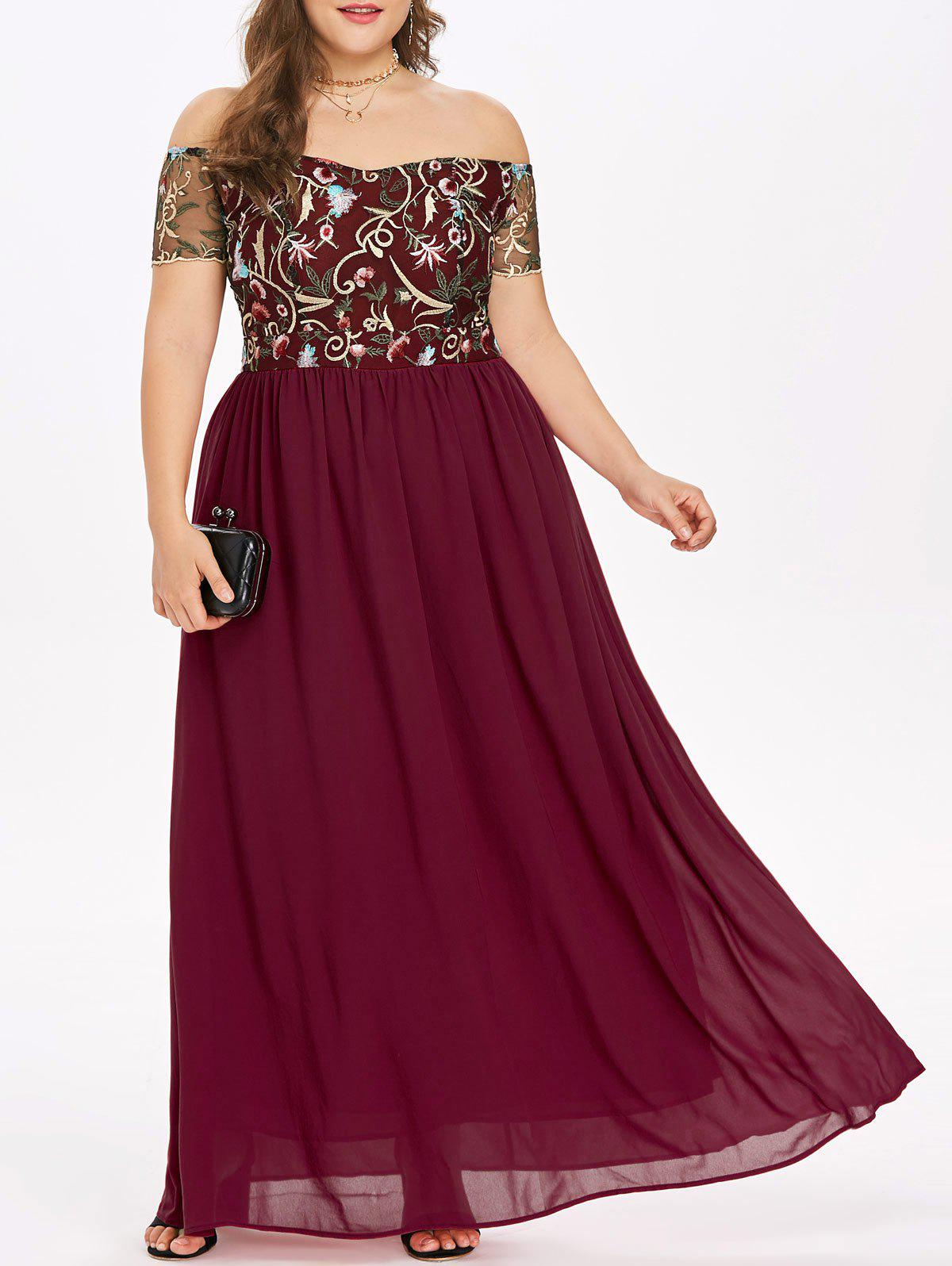 Affordable Rosegal Off The Shoulder Plus Size Embroidery Maxi Dress
