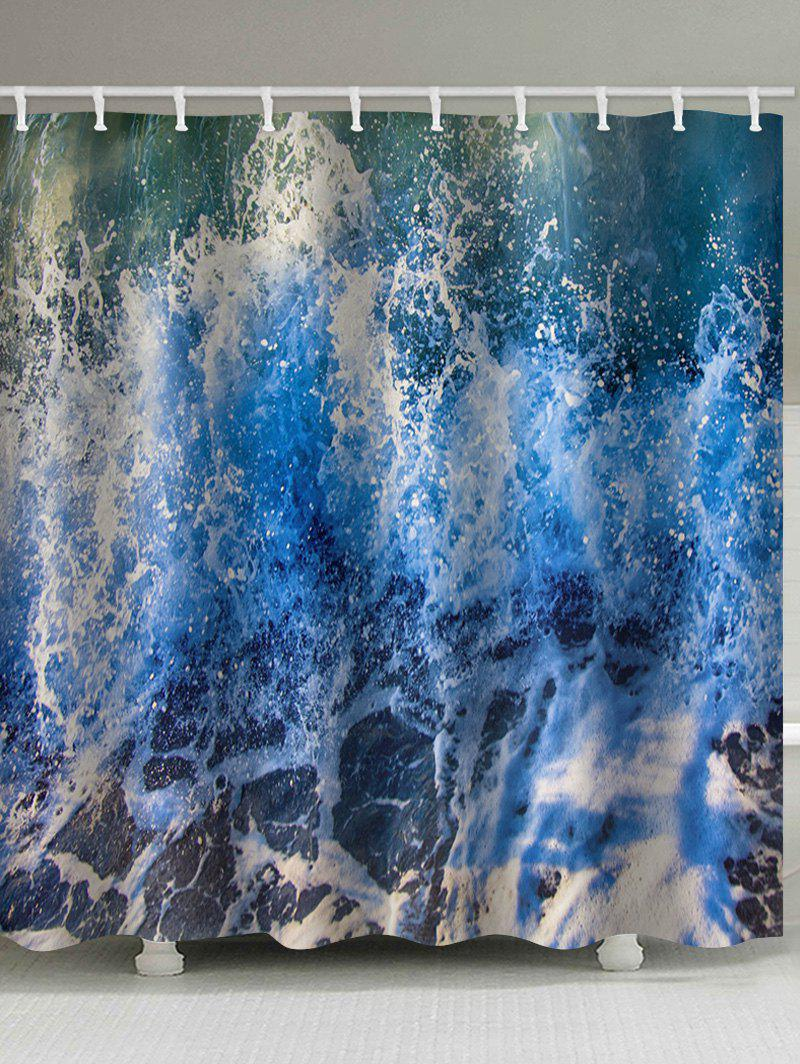 Shops Ocean Wave Print Waterproof Bathroom Curtain