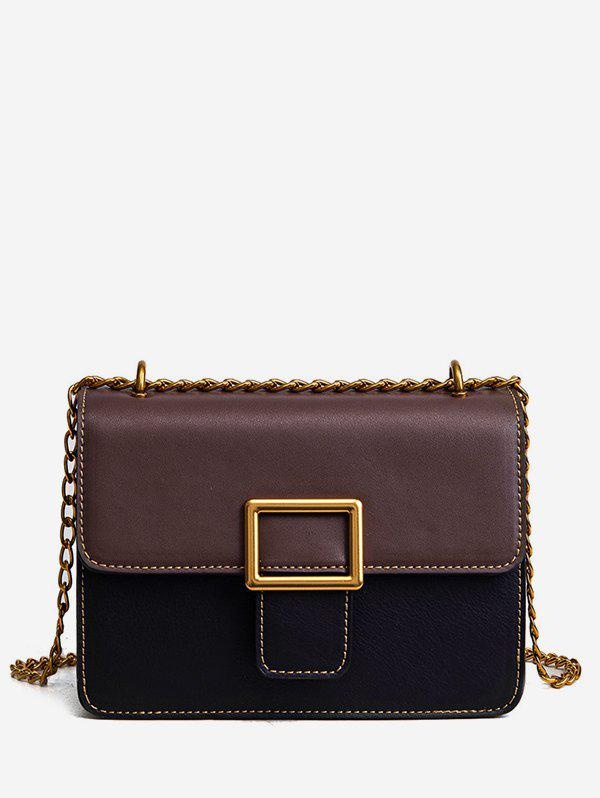 Shop Chic Color Block Buckled Flap Stitching Crossbody Bag