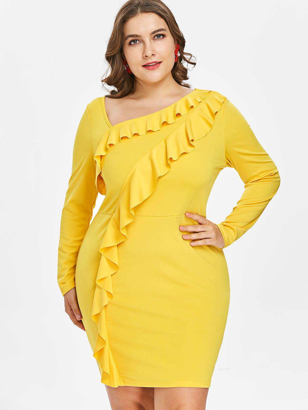 New Plus Size Ruffled Bodycon Dress