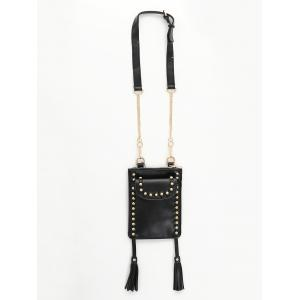 PU Leather Rivet Tassel Shoulder Bag -