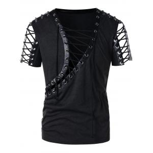 Lace Up PU Leather Panel Rivet T-shirt -