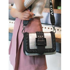 Buckled Flapped Studs Chain Color Block Crossbody Bag -