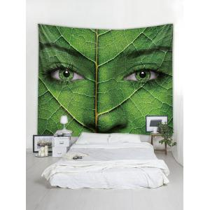 Wall Hanging Art Women Face Leaf Print Tapestry -