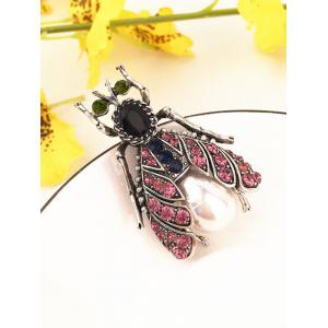 Colored Rhinestone Inlaid Alloy Insect Pin Brooch -