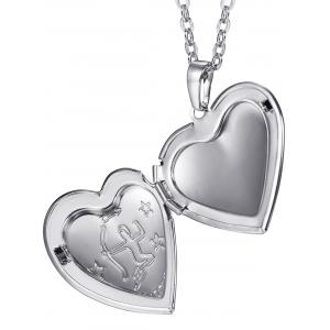 Carved Heart Shaped Box Pendant Necklace -