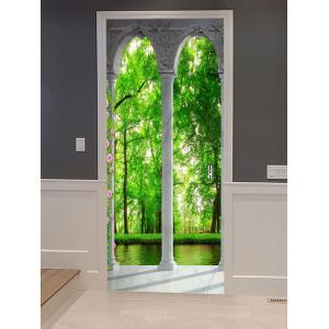 Forest Scenery Printed Decorative Door Stickers -