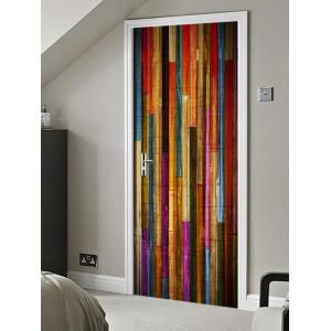 Colorful Wood Board Printed Door Decals -