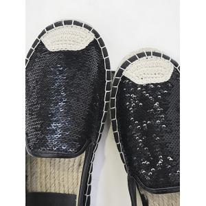 Stitching Casual Sequined Espadrille Heel Flats -
