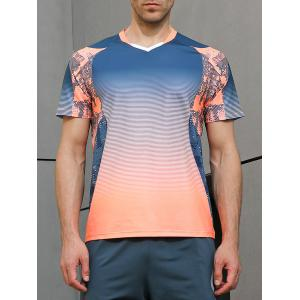 Ombre Geometrical Print Faster Moisture Absorption Tee -