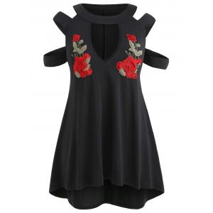 Plus Size Shedding Cut Embroidered Keyhole Dress -