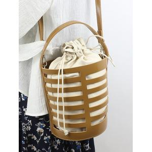 Leisure Minimalist Cut Out Bucket Shaped Handbag -