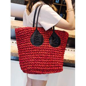 Color Block Straw Large Capacity Travel Tote Bag -