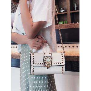 Contrasting Color Chain Studded Metallic Crossbody Bag -