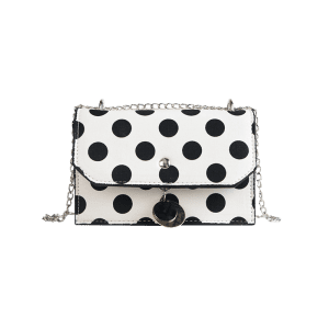 Vintage Polka Dot Color Block Flap Metal Chain Sling Bag -