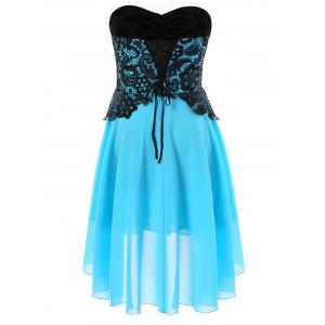Lace Panel Strapless A Line Dress -