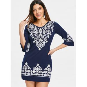 V Neck Ethnic Print Shift Dress -
