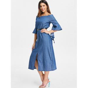Off The Shoulder Slit Robe à rayures -