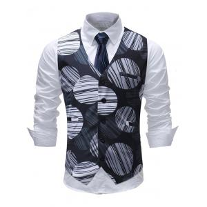 Line Circle Print Single Breasted Vest -