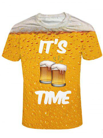 Affordable Crew Neck Beer Print Graphic Tee