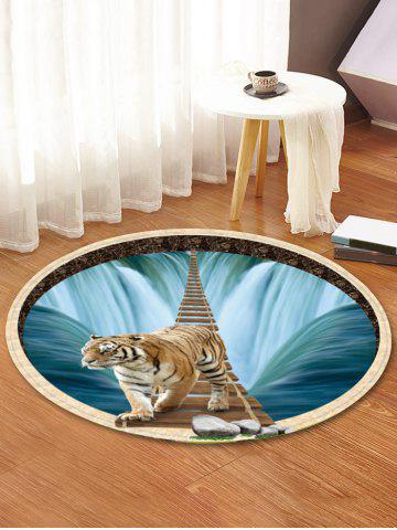 Store Waterfall Tiger Pattern Anti-skid Round Floor Rug