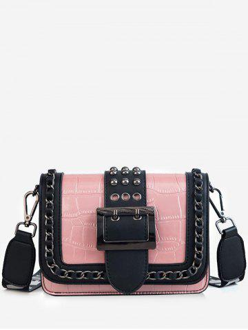 Latest Buckled Flapped Studs Chain Color Block Crossbody Bag