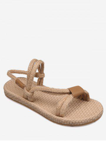 Trendy Flat Heel Espadrille Ropes Chic Holiday Slingback Sandals