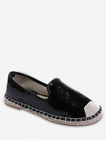 Cheap Stitching Casual Sequined Espadrille Heel Flats