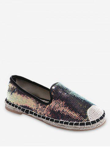 New Stitching Casual Sequined Espadrille Heel Flats