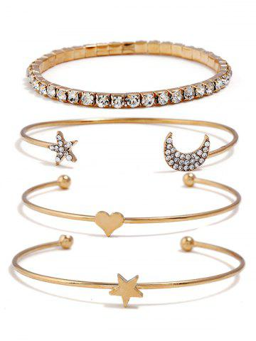 Best Rhinestone Star Moon Heart Design Bracelets Set