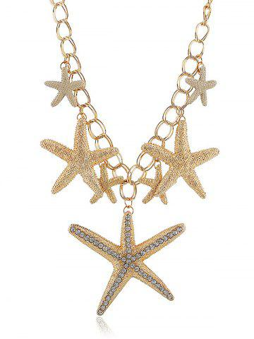 Outfit Rhinestone Starfishes Pendant Chain Necklace