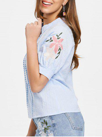 Affordable Floral Embroidery Short Sleeve Blouse