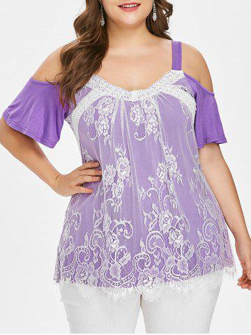 Trendy Plus Size Cold Shoulder Lace Overlay Top