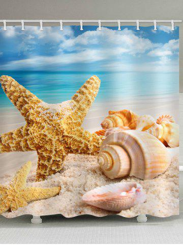 Trendy Beach Starfish Conch Print Waterproof Bathroom Shower Curtain