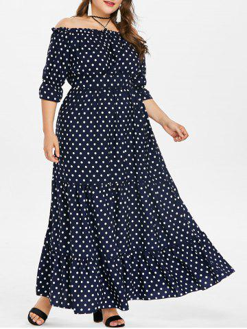 Online Plus Size Off Shoulder Polka Dot Maxi Dress