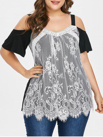 Fancy Plus Size Cold Shoulder Lace Overlay Top