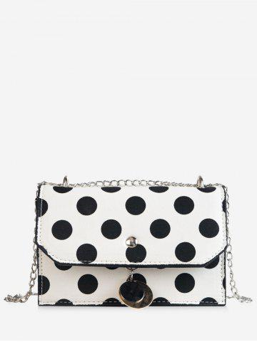 Buy Vintage Polka Dot Color Block Flap Metal Chain Sling Bag