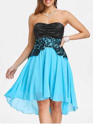 Hot Lace Panel Strapless A Line Dress