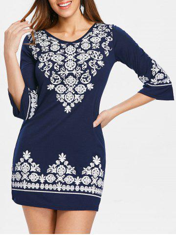 Sale V Neck Ethnic Print Shift Dress