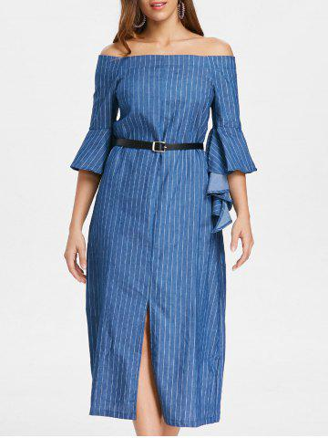 Off The Shoulder Slit Robe à rayures