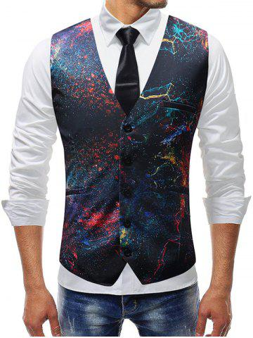 New Oil Paint Print Single-breasted Vest