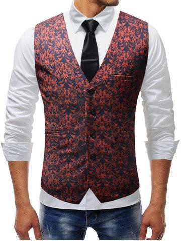 Sale Shivering Flower Print Single Breasted Vest