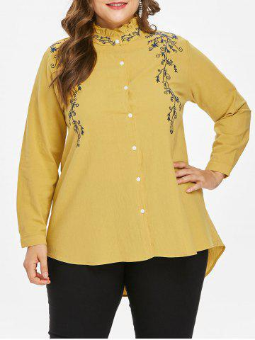 Affordable Plus Size High Low Ruffle Neck Blouse