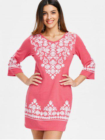 V Neck Ethnic Print Shift Dress