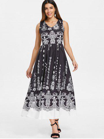 Baroque Pattern Sleeveless Maxi Dress